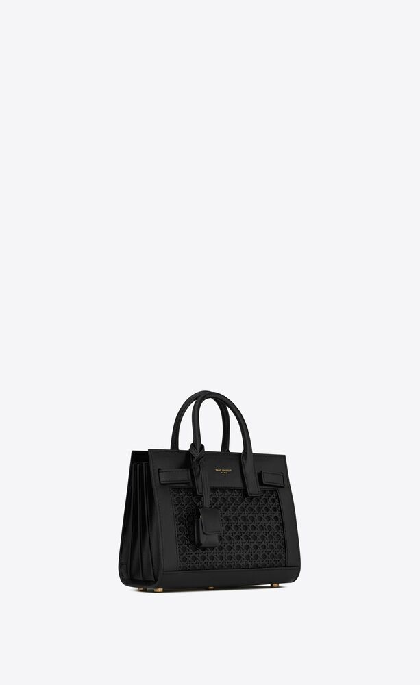 classic sac de jour nano in smooth leather and woven cane