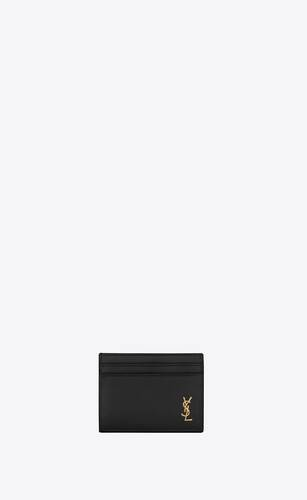 tiny monogram card case in smooth leather