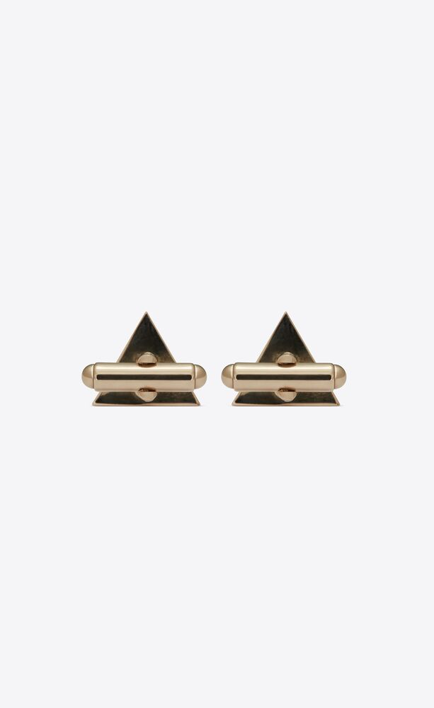 pyramid cufflinks in metal and enamel