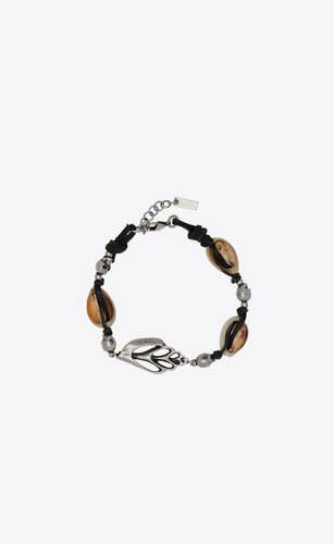 skull and shell bracelet in metal, leather and seashells
