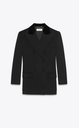 플란넬 울 캐시미어 소재의 더블 브레스트 재킷