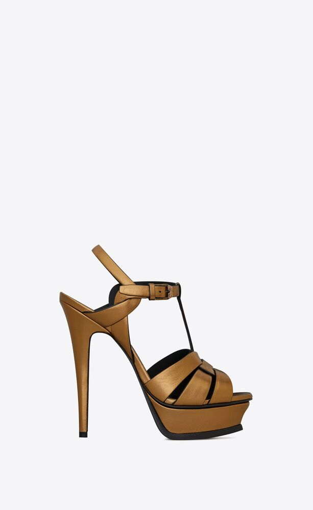 tribute platform sandals in metallic smooth leather