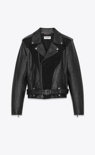 western biker jacket in aged leather and stardust