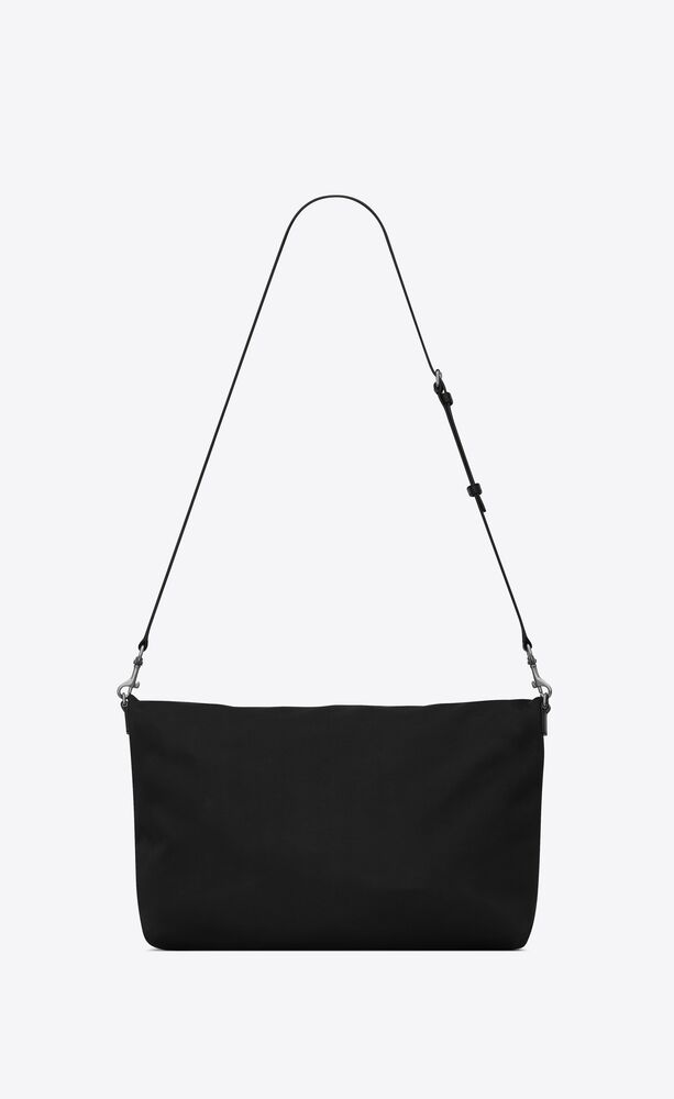 ethan foldable shopping bag in canvas and smooth leather