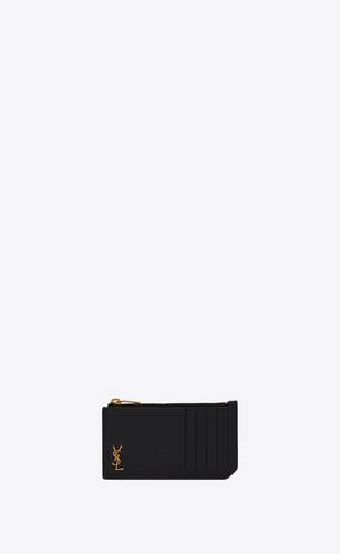 monogram fragments zipped card case in grained leather