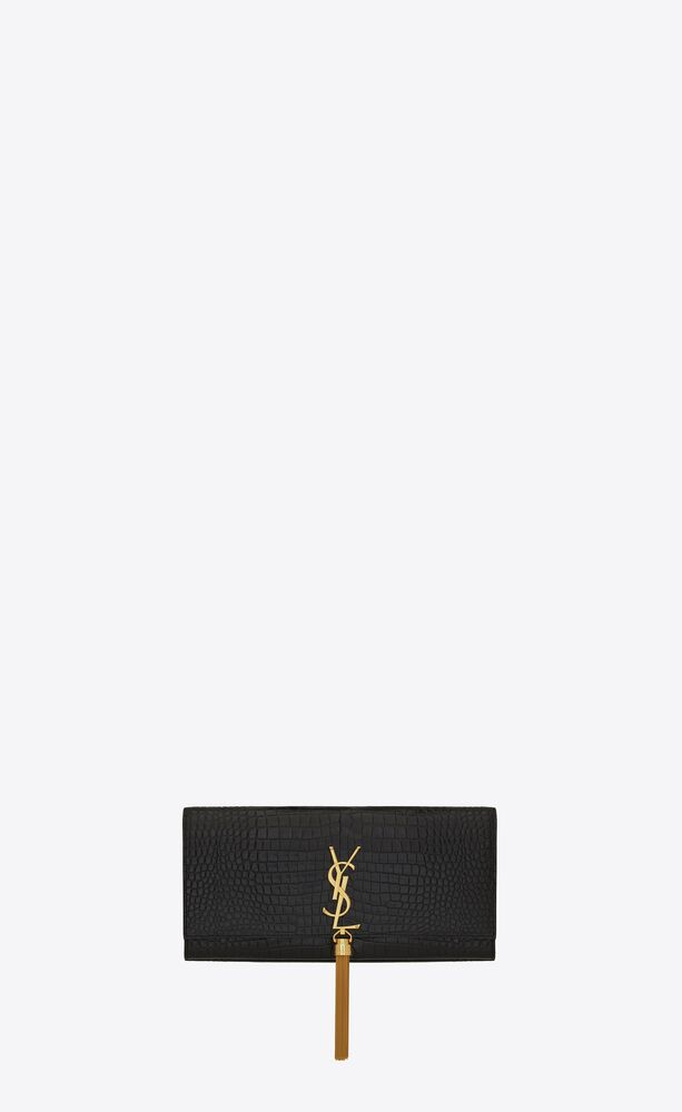 kate tassel clutch in embossed crocodile shiny leather