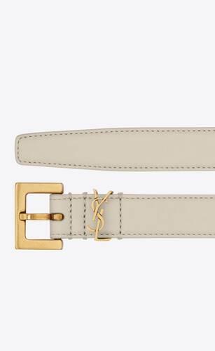 cinturón fino monograma con hebilla cuadrada de piel lacada