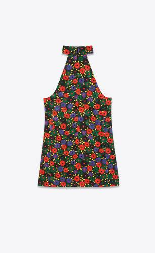 retro flower quilted dress in viscose and cotton