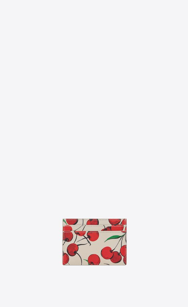 monogram card case in cherry-print leather