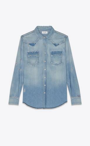 destroyed western shirt in dusty pink blue denim