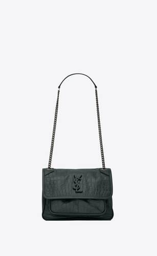 niki baby in crocodile-embossed leather