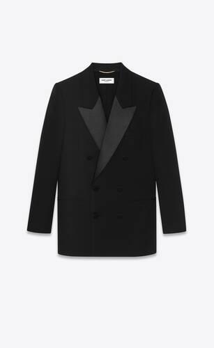 veste de smoking à double boutonnage en grain de poudre saint laurent
