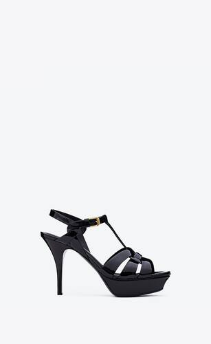 tribute platform sandals in patent leather