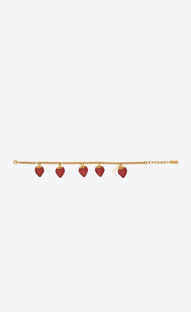 strawberry charm bracelet in metal and enamel
