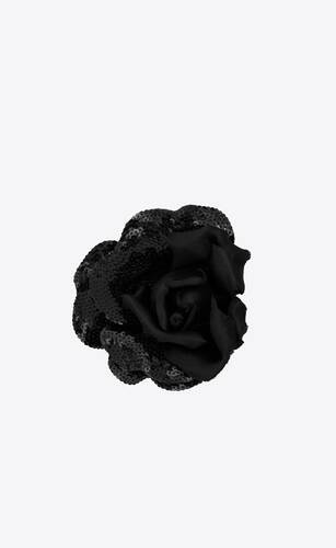 rose brooch in silk satin with sequins