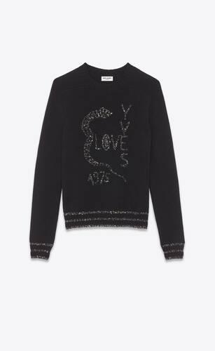 """pullover """"love yves 1975"""" mit pailletten-jacquard und schlangen-print"""