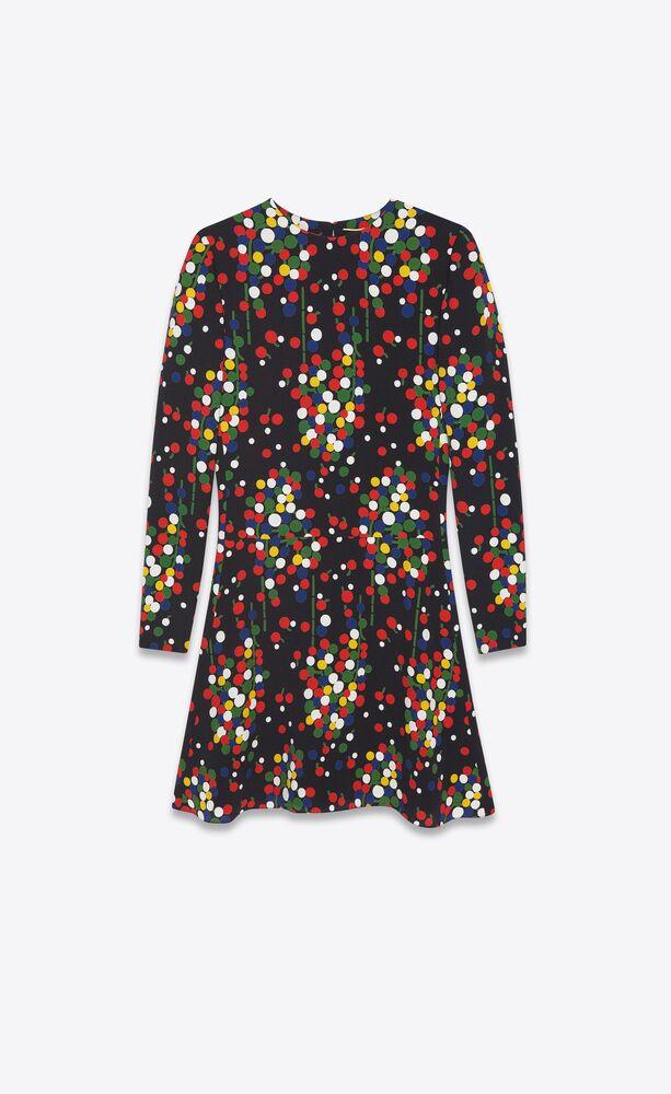 flared dress in confetti-print sablé