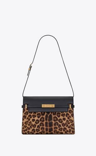 manhattan shoulder bag en cuir effet pony imprimé léopard et cuir lisse