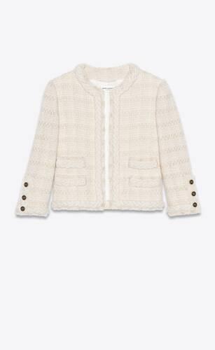 short jacket in check wool and silk tweed