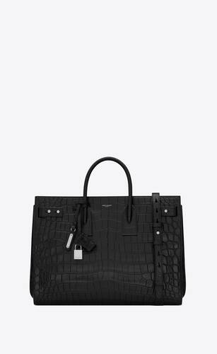 sac de jour thin large in crocodile-embossed leather
