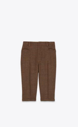 bermuda cycling shorts in checked wool