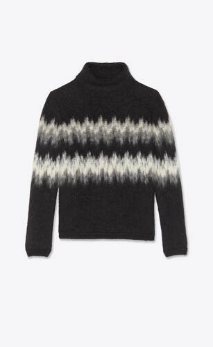 brushed knit turtleneck sweater in mohair intarsia