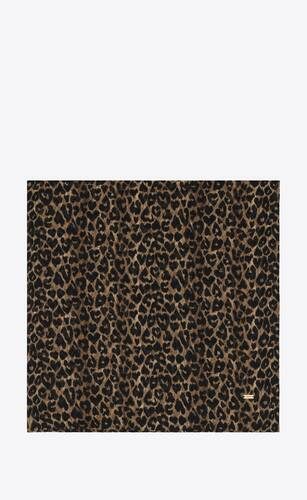 large square scarf in heart leopard-print wool twill