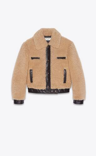 jacket in shearling and leather
