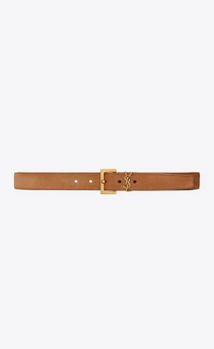 monogram belt with square buckle in suede