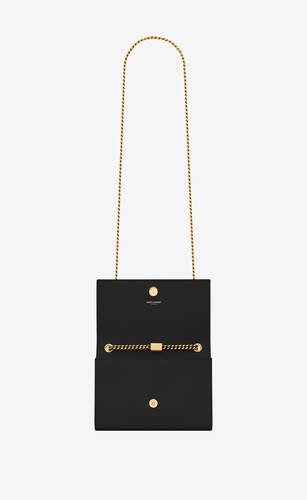 bolso con cadena classic kate small de piel texturizada grain de poudre negra