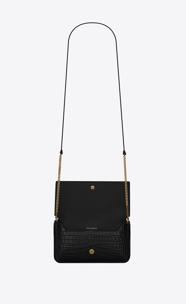 monogram phone holder with strap in shiny crocodile-embossed leather