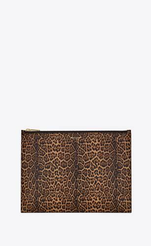 saint laurent paris large pouch in leopard-print leather