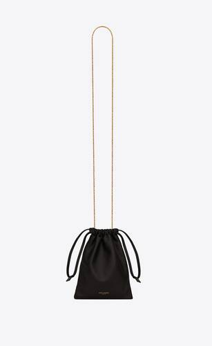 saint laurent paris drawstring pouch in lambskin