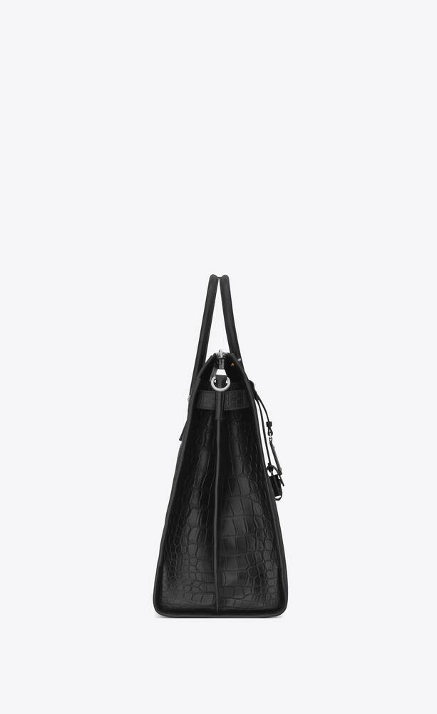 sac de jour north/south tote in crocodile embossed leather