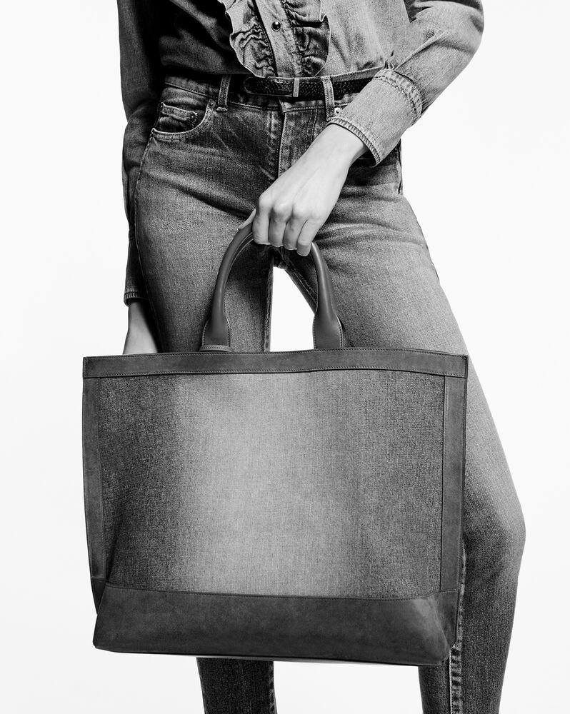 bolso shopper tag de lona y piel
