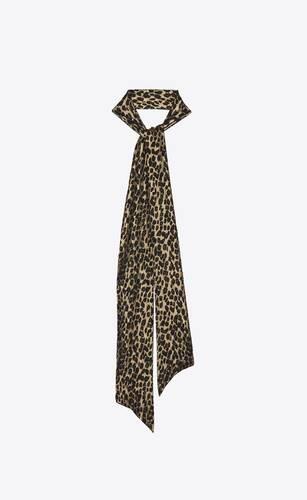 leopard-print long lavallière scarf in silk lamé jacquard