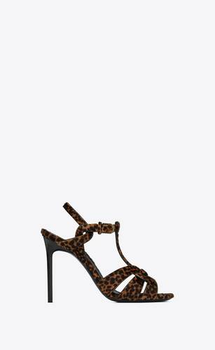 tribute sandals in leopard-print pony-effect leather
