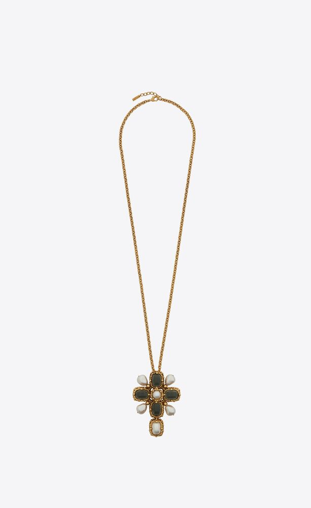 baroque cross charm necklace in metal and pearls