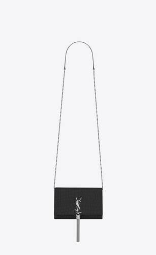 크로커다일 무늬가 새겨진 블랙 가죽 소재의 케이트 모노그램 생 로랑 태슬 체인 지갑