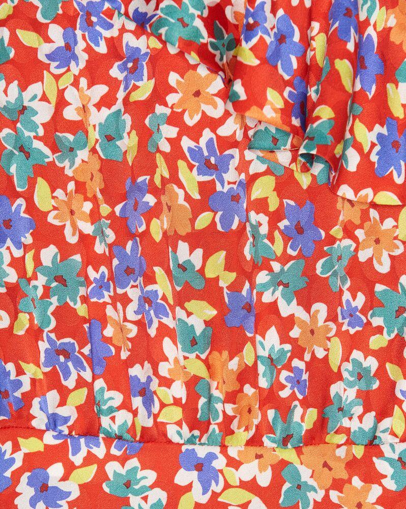 robe asymétrique à manches ballon en soie fleurie