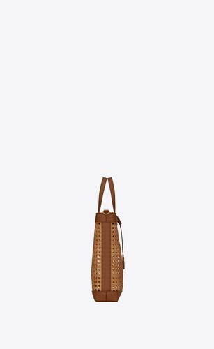 saint laurent n/s toy shopping bag in woven cane and leather