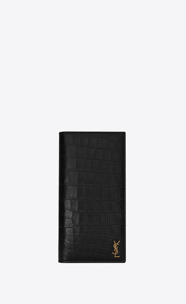 tiny monogram continental wallet in crocodile embossed matte leather