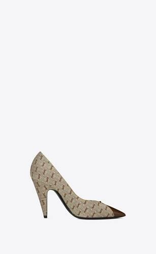 zapatos de salón lola de jacquard con monograma y piel lisa