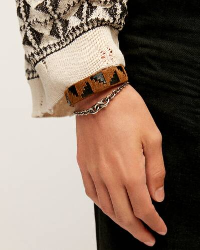 woven triangle bracelet in suede, leather and metal