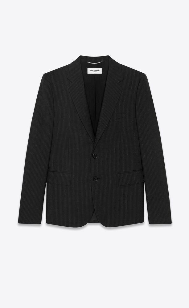 veste courte en laine et mohair à rayures en relief