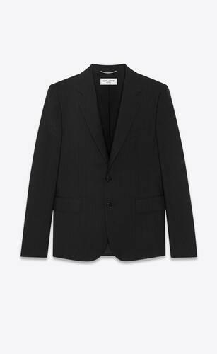 chaqueta corta de mohair y lana con rayas en relieve
