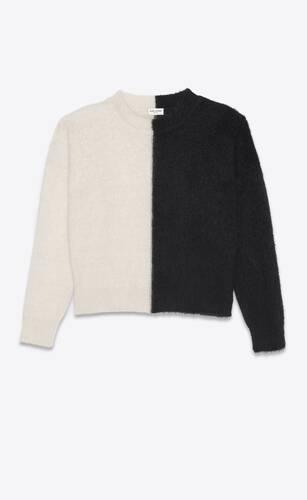 zweifarbiger pullover aus mohair