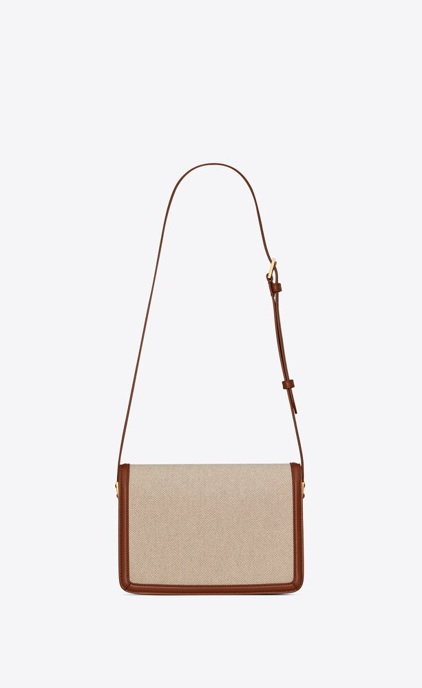 solferino medium satchel in cotton canvas and leather
