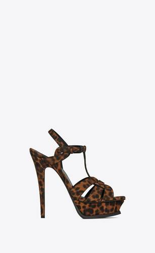 tribute platform sandals in leopard-print suede