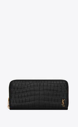 tiny monogram zip-around wallet in crocodile-embossed matte leather